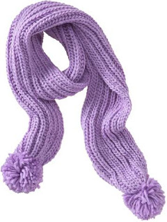Old Navy | French Violet, chunky knit, pom pom scarf