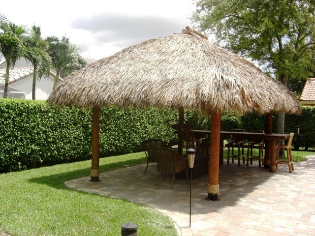 Big Kahuna Tiki Huts Constructed An Authentic Tiki Hut (a/k/a Chickee Hut)  In The Backyard Of A Customer In Coral Springs, Florida.