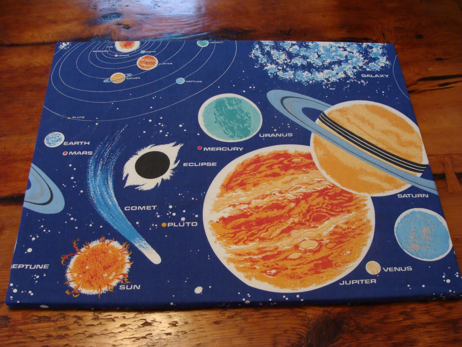 Vintage pollyanna custom solar system wall art from for Solar system fabric panel