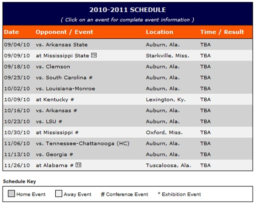 Auburn  University  Football  Schedule