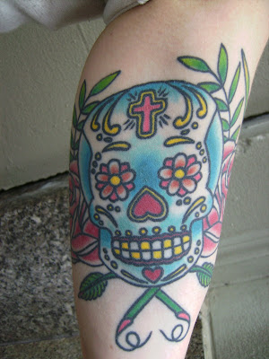 mexican sugar skull tattoo meaning. Girly sugar skull tattoo. Claire's Sugar Skull Celebrates Her Grandmother's