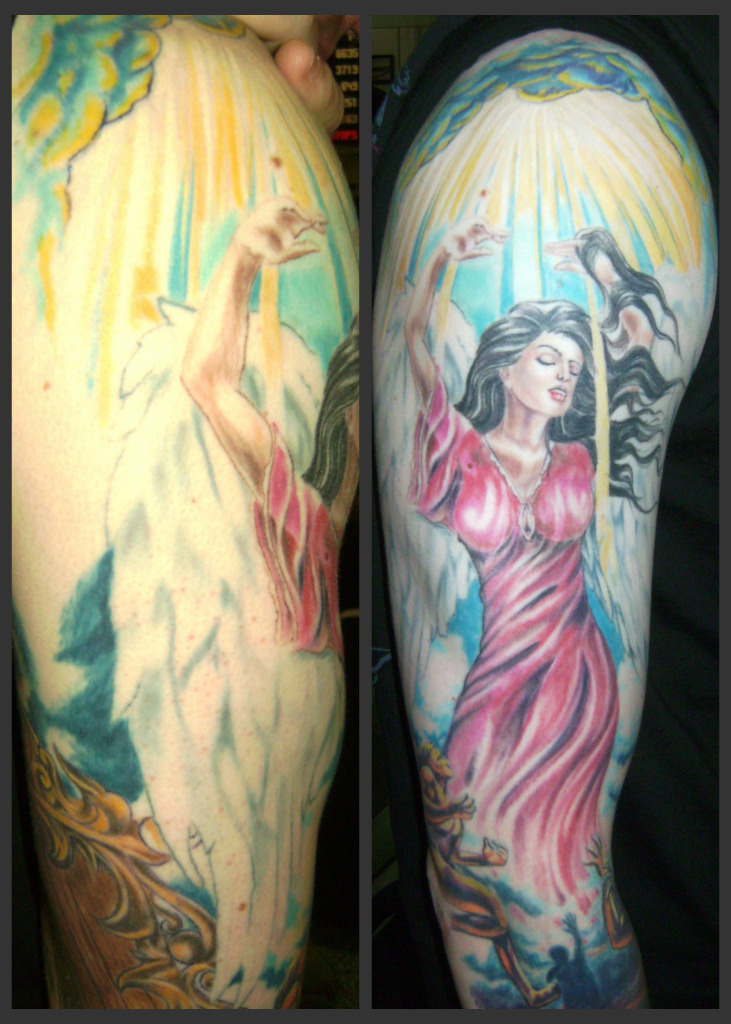 The gallery for heaven vs hell drawing for Battle between heaven and hell tattoo