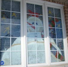 Snowman I painted on the front window
