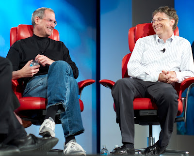 The late Steve Jobs, left, interviewed together with Bill Gates,