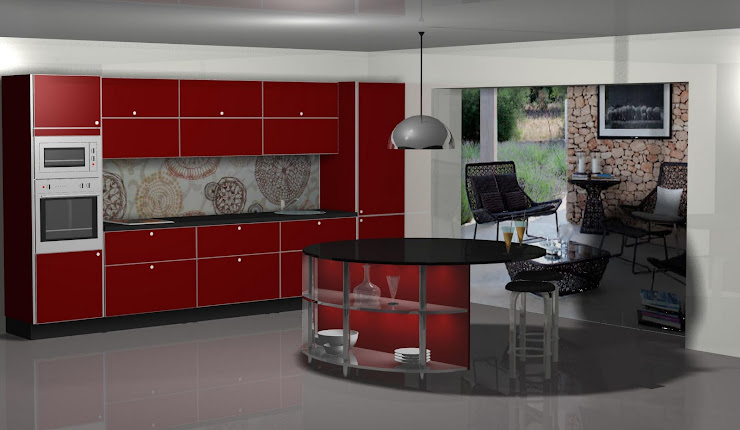 Diseño de cocina con papel decorado imitando a azulejos de V&l.