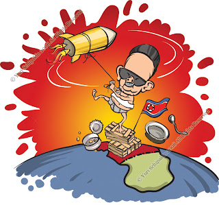 Caricature on North Korea Missile Launch kim jong il