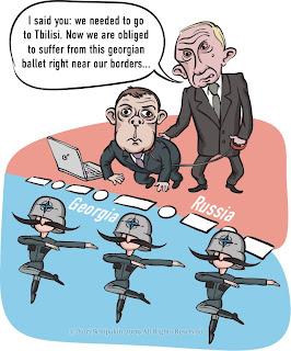 Caricature NATO Georgia Russia Putin Medvedev