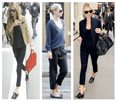 Looks masculinos Kate Moss con zapatos oxford y mocasines