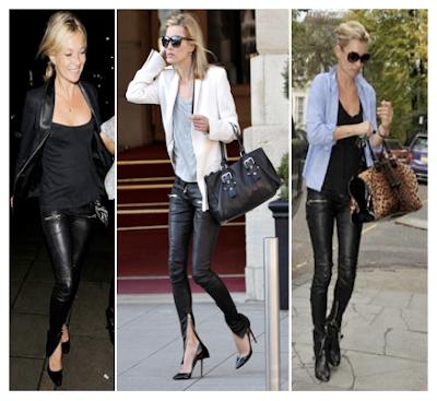 Looks Kate Moss con jeans, pitillos, desgastados y de cuero