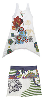 Desigual, tank top y minifalda blanca con flores colores
