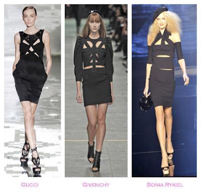 Parecidos razonables: Asimetrías: Gucci (Primvaera-verano 2010) - Givenchy (Primavera-verano 2009) - Sonia Rykiel (Primavera-verano 2009)