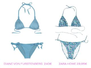 Comparativa precios bikinis para delgadas: Diane von Furstenberg 240€ vs Zara Home 29,95€