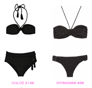 Comparativa precios bikinis rellenitas: Chloé 214€ vs Intimissimi 49€