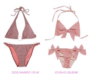 Comparativa precios bikinis para delgadas: Dos Mares 101€ vs Oysho 29,90€