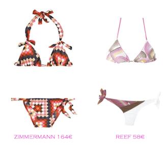 Comparativa precios bikinis para delgadas: Zimmermann 164€ vs Reef 58€