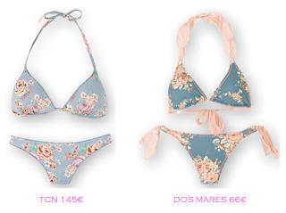 Comparativa precios bikinis para delgadas: TCN 145€ vs Dos Mares 66€