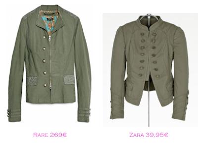 Chaquetas militares: Rare 269€ - Zara 39,95€