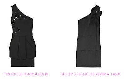 Tienda online: Net-a-porter: Vestido LBD: Preen 280€ vs See by Chloé 142€