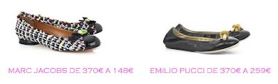 Tienda online: Net-a-porter: Bailarinas: Marc Jacobs 148€ vs Emilio Pucci 259€
