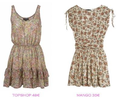Comparativa precios: Vestidos print floral: TopShop 49€ vs Mango 35€