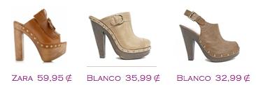 Comparativa precios 2010: Zuecos: Zara 59,95€ - Blanco 35,99€ - Blanco 32,99€