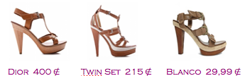 Comparativa precios 2010: Sandalias plataforma 2010: Dior 400€ - Twin-Set 215€ - Blanco 29,99€