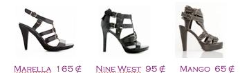 Comparativa precios zapatos 2010: Sandalias plataforma: Marella 165€ - Nine West 95€ - Mango 65€