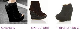 Comparativa precios 2010: Cuñas negras abotinadas: Givenchy - Mango 65€ - TopShop 55€