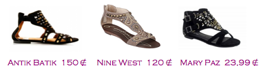 Comparativa precios 2010: Sandalias planas empeine decorado: Antik Batik 150€ - Nine West 120€ - Mary Paz 23,99€