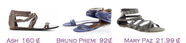 Comparativa precios 2010: Sandalias planas multi tiras: Ash 160€ - Bruno Premi 92€ - Mary Paz 21,99€