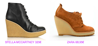 Botines cuña 5 Stella McCartney vs Zara