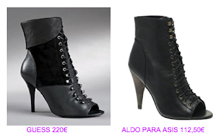 Botines peep toe Guess vs Aldo