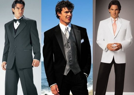 Black white and gray are the most popular mens wedding suits colors for