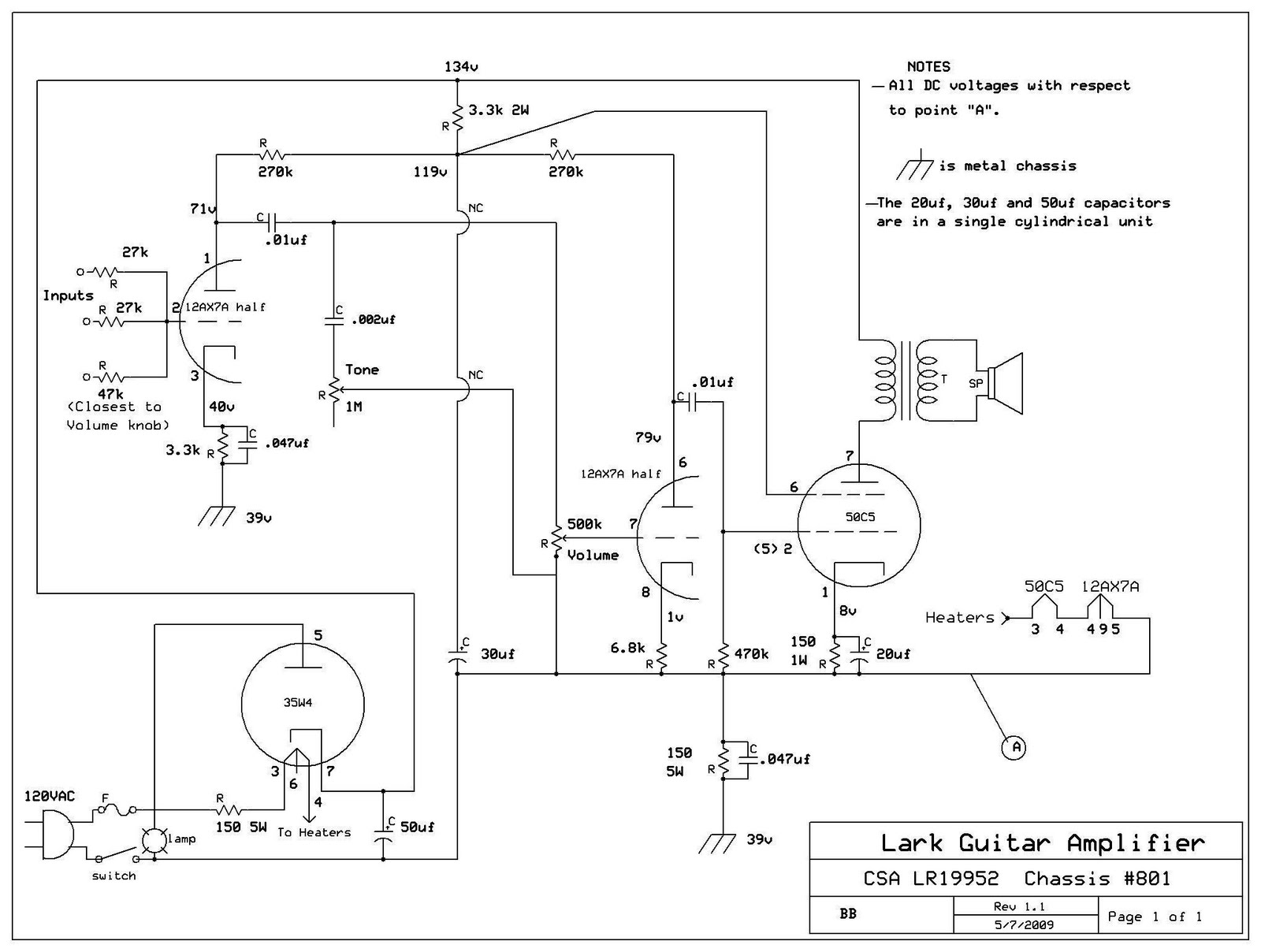 Lark Wiring Diagram Diagrams Schematics 1960 Studebaker Poulan Pepco Tube Amps September 2010 Schematic V1 09