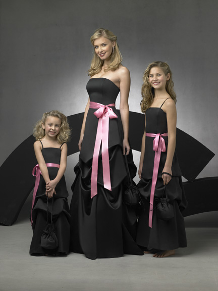 Bridal dresses bridemaid wedding dress for Black and pink wedding dress