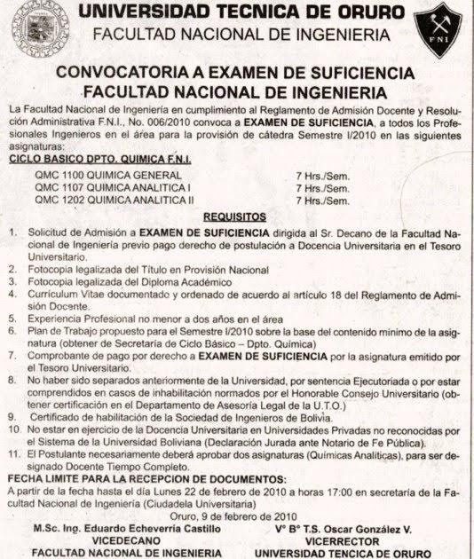 Universidad tecnica de oruro facultad nacional de for Convocatoria para docentes
