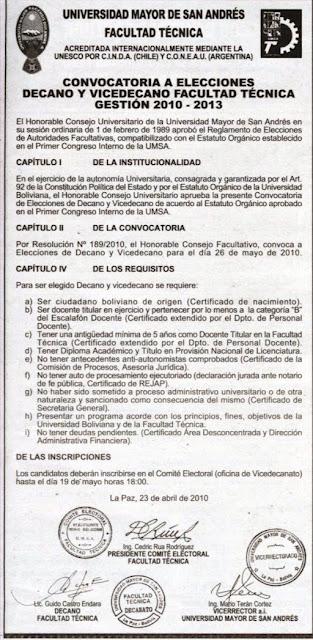 NOTICIAS DE UNIVERSIDADES DE BOLIVIA