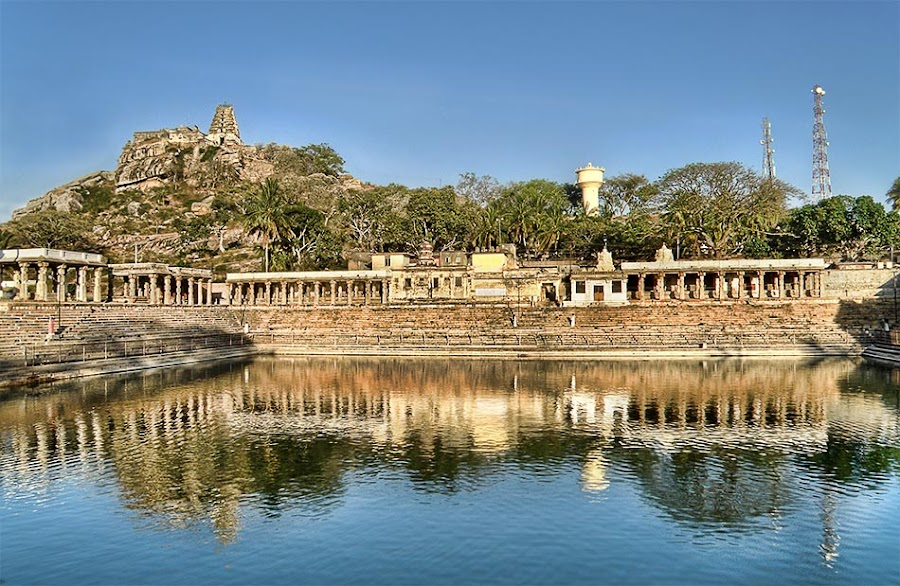HDR image of temple in melkote as seen from the pushkarni