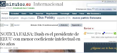 La noticia falsa del coeficiente intelectual de Bush en la edición digital de 20 Minutos