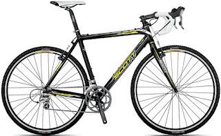 Scott preta de carbono para prática de ciclocross, quase uma híbrida