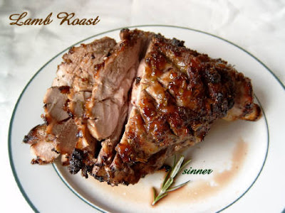 roast lamb with sweet fruit glaze