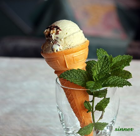 Mint vodka ice cream on a cone