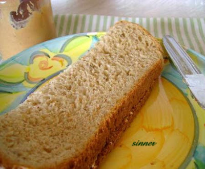 Peanut butter on a slice of homemade light Wholemeal Bread