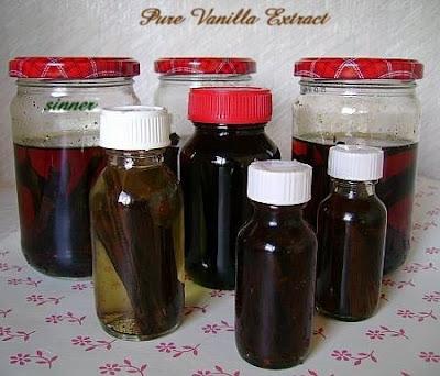 Bottles of pure vanilla extract