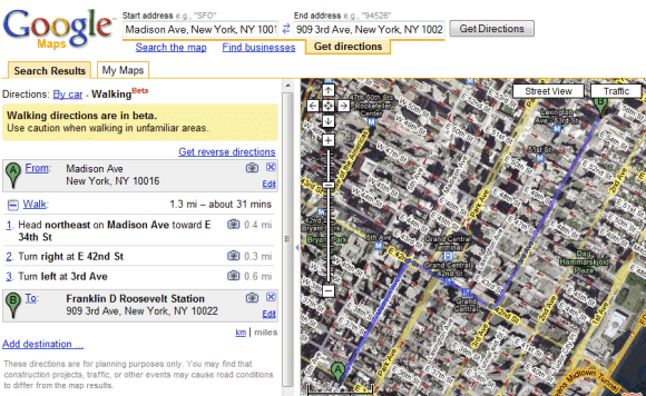 Google Maps Tests Walking Directions on