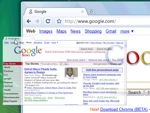 Google chrome opens in new tab