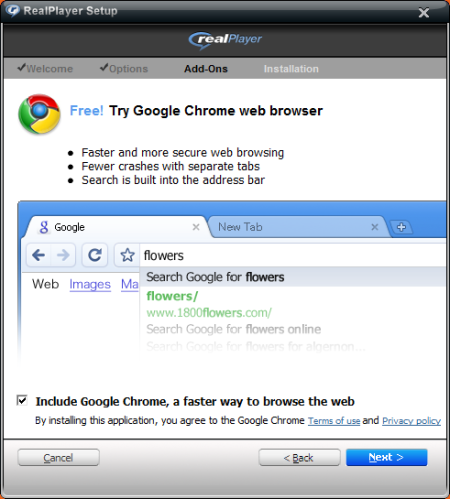 Google Chrome, Bundled with RealPlayer