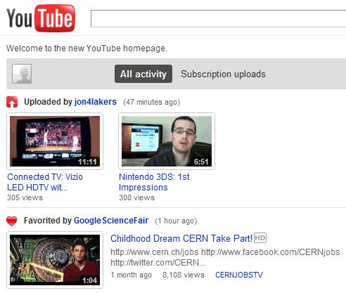 Как сделать главную страницу в youtube