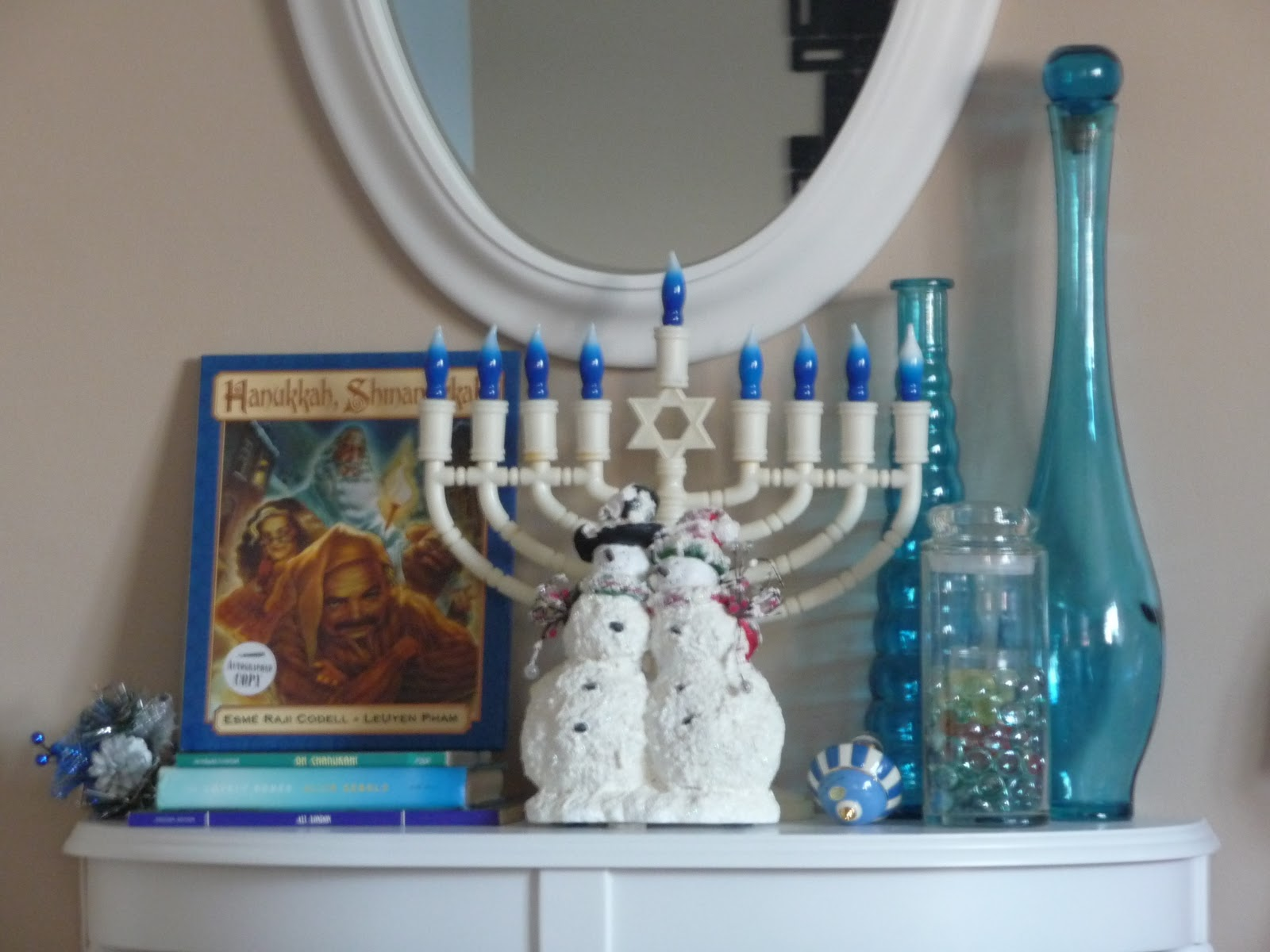 with the blues i get to use all the accessories i already have hello glass vases and it works even better for chanukah - I Ll Have A Blue Christmas