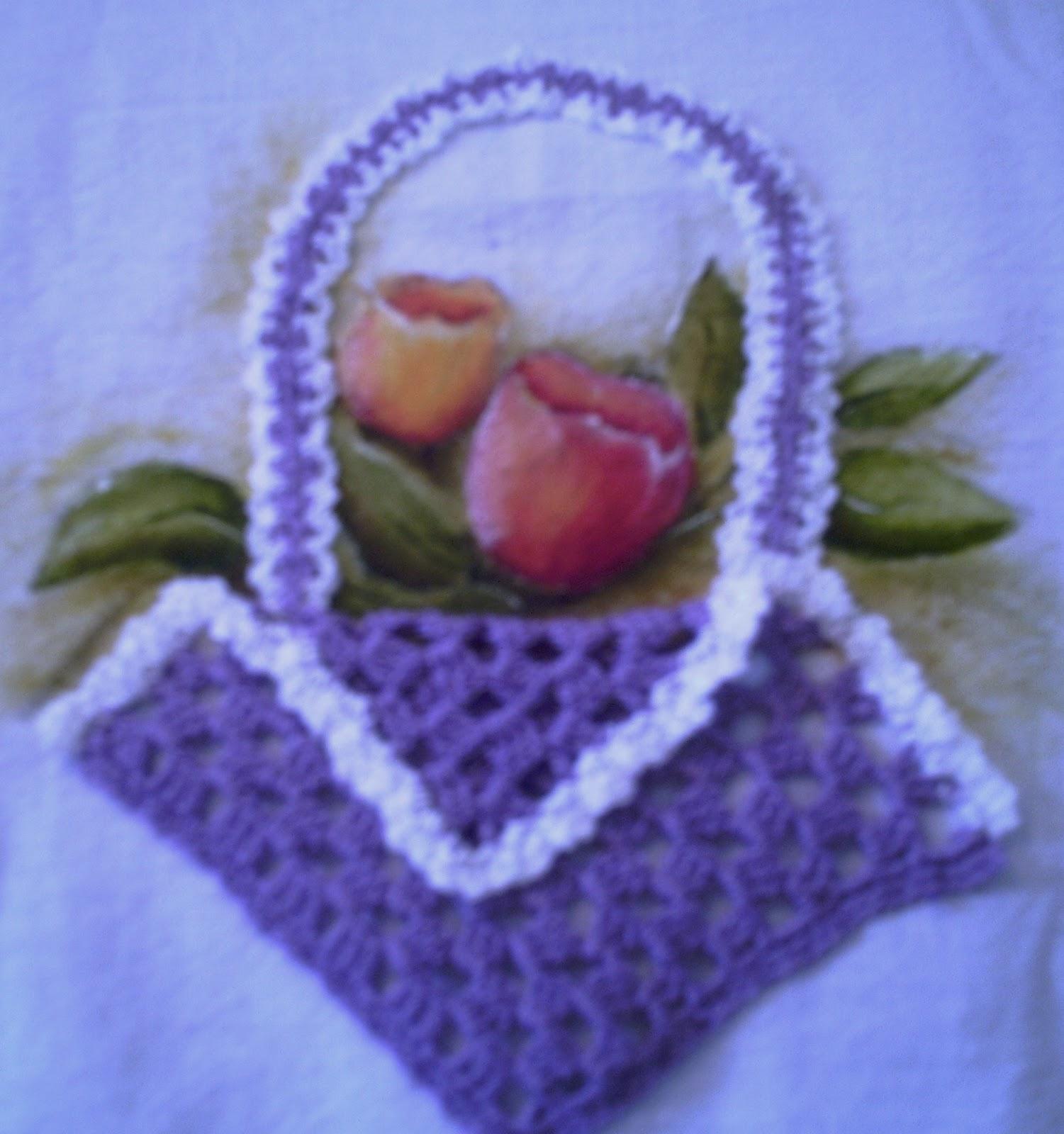 Panos de prato Cestinhas de crochet com graficos